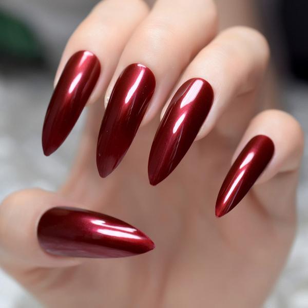 Wish   Women Fashion Extra Long Sharp Stiletto False Nails Tips ...