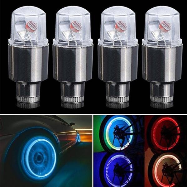 2PCS Bike Car Motorcycle Wheel Tyre Valve Cap Flash LED Light Lamp Accessories