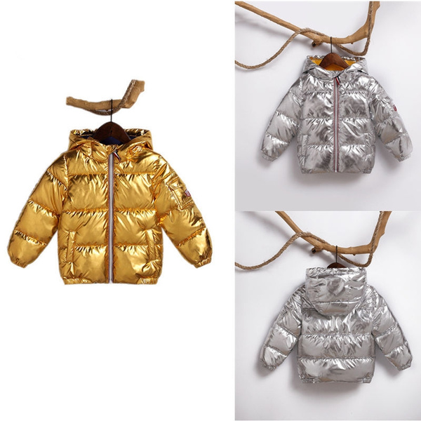 c348df643 2018 Cotton Padded Winter Jacket For Children Solid Gold Zipper ...