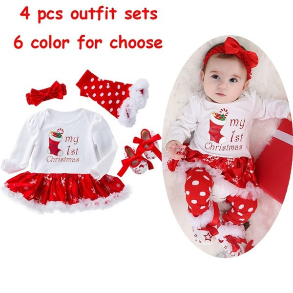 Christmas Tutu Outfits.4pcs Newborn Infant Baby Girls Xmas Romper Outfits My First Christmas Tutu Dress Up