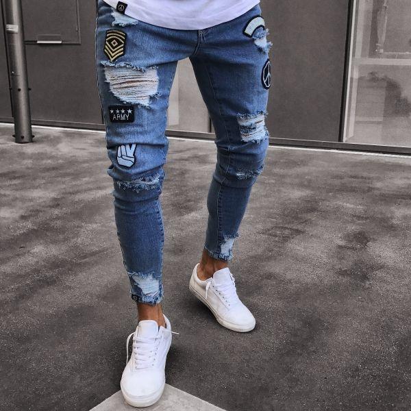 2019 professionell zahlreich in der Vielfalt Großhandelsverkauf 2019 New Fashion Men's Hosen Herren Biker Denim Jeans Ripped Hole Skinny  Frayed Long Pants Slim Fit Bottom Blue Elastic Troursers