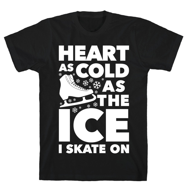 4bd8eaf412 LookHUMAN Heart As Cold As The Ice I Skate On Black Men's Cotton Tee