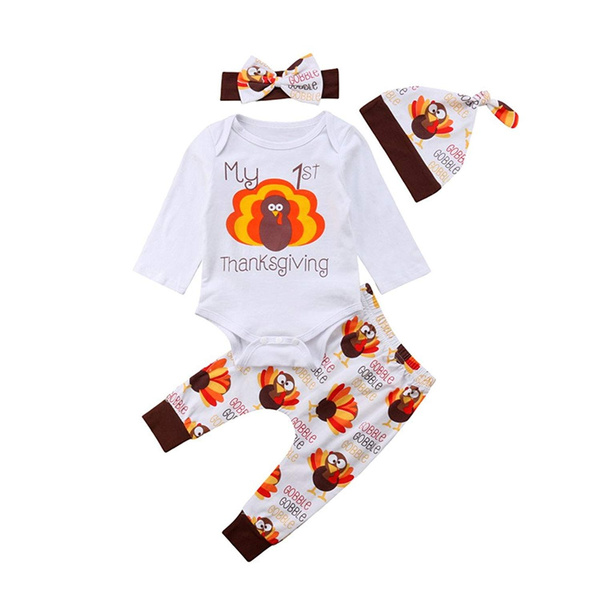 5cb98732d49 My First Thanksgiving Romper Cute Outfit Baby Newborn Boy Girl Cotton  Clothing