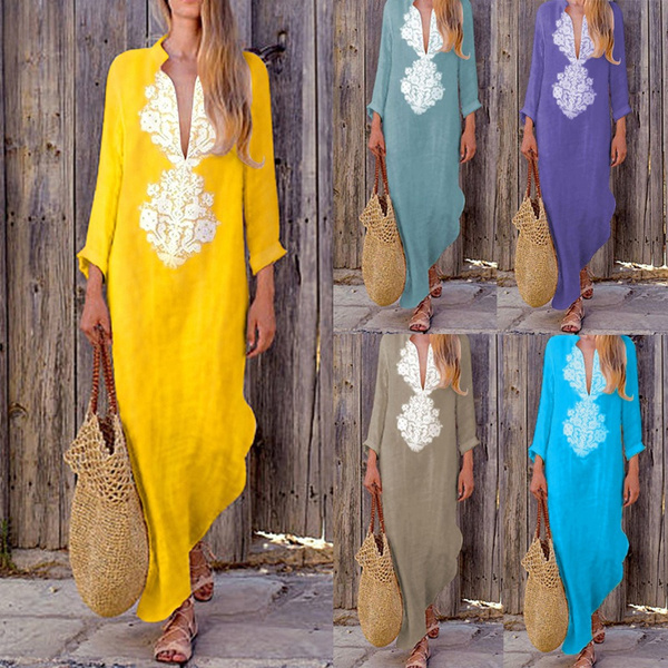 c627684e965 Women Casual Loose Cotton Linen Boho Long Dress Lace Crochet Kaftan ...