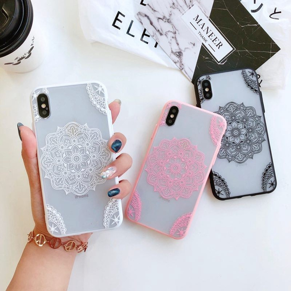 cheap for discount 90a37 94c61 Mobile Phone Case For iPhone XS Max/XR/X/8/8 Plus/7/7 Plus/6S/6S Plus/6/6  Plus/5 Beautiful Mandala Relief Pattern Clear TPU Frame+PC Back Cover ...