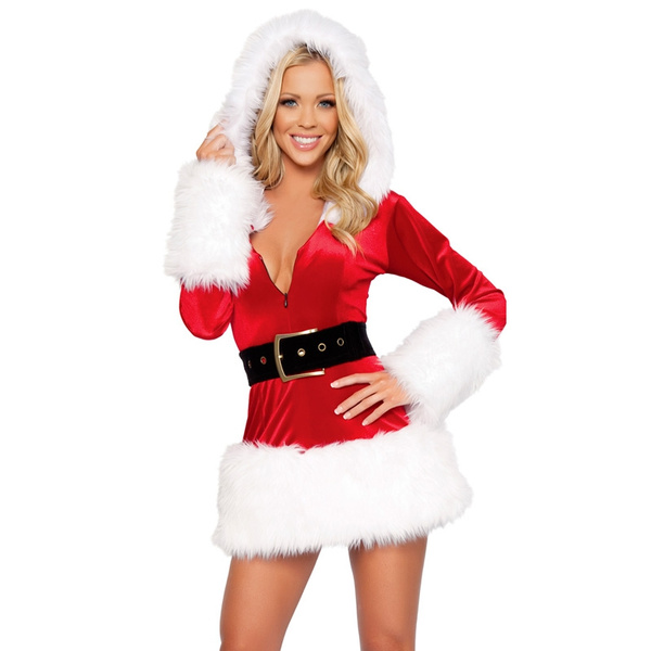 Xmas Ladies Womens Costume Outfits Christmas Fancy Dress  Adults Mrs Santa Claus