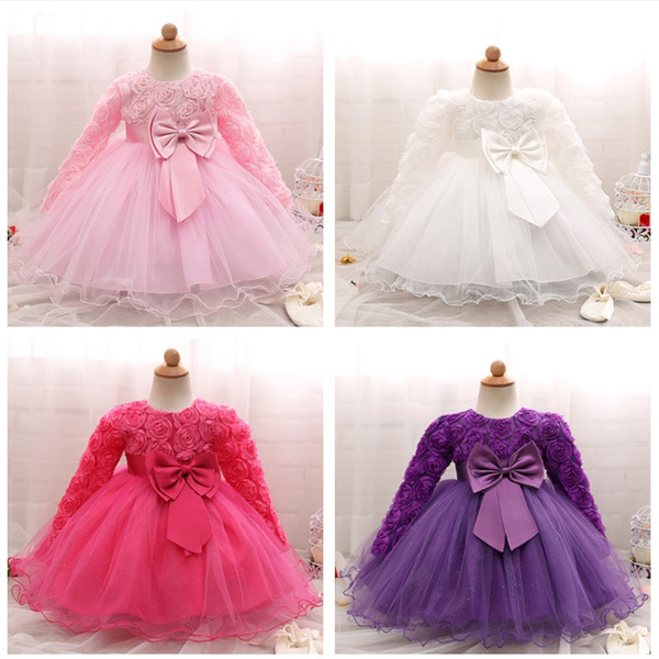 3a86313f1 2018 Autumn Winter Newborn Baby Baptism Dresses for Girls 1st ...