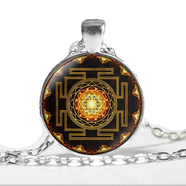 chakra Spiritual Buddhist Sri Yantra Pendant Necklace Sacred Geometry Sri  Yantra Jewelry meditation Necklace