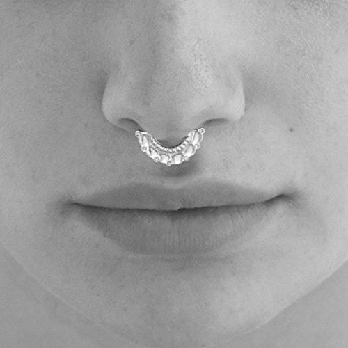 Septum Ring Indian 925 Sterling Silver Hoop Septum Tribal Nose Piercing Jewelry Handmade Piercing Jewelry 19g Handmade Designer Jewelry Wish