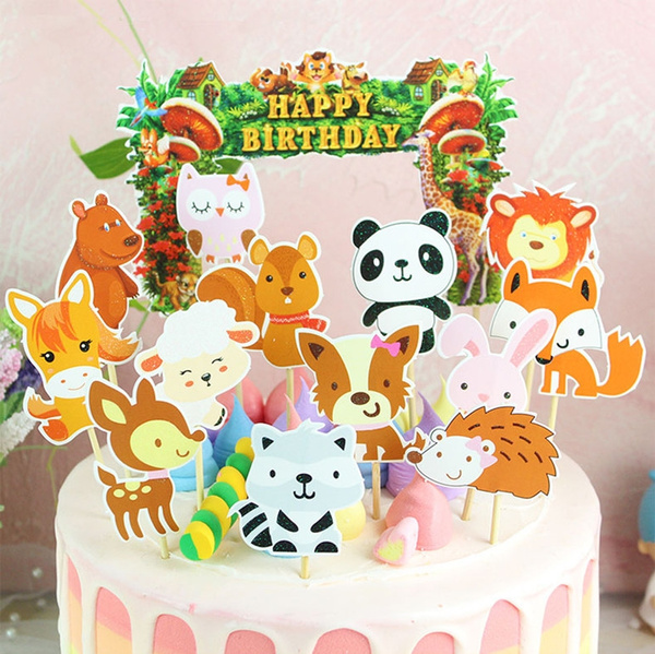Awesome 14Pcs Set Diy Cute Glitter Wild Zoo Animals Birthday Cake Toppers Funny Birthday Cards Online Amentibdeldamsfinfo