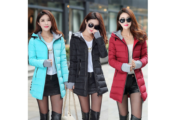 New Women Fashion long coat Thicken Warm overcoat Hooded cotton Padded Coat puffer Jacket