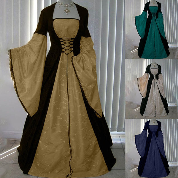 Plus Size 4 Colors Women Fashion Handfasting Medieval Long Sleeve ...