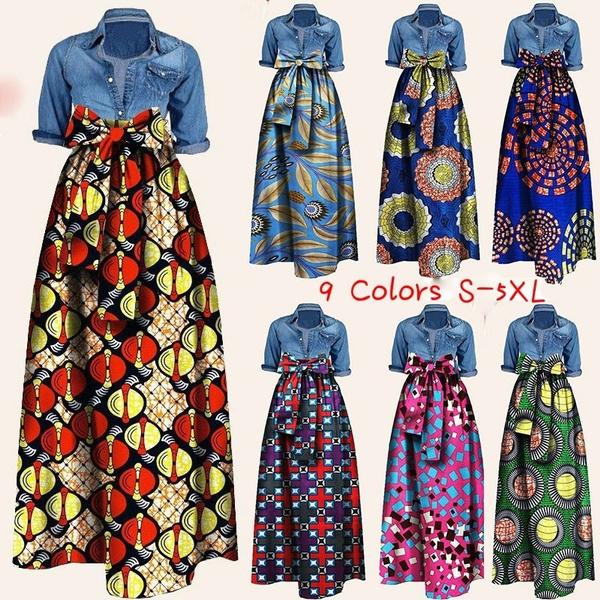 52a655e4f Fashion Women's African Print High Waist Long Maxi Skirt Plus Size ...
