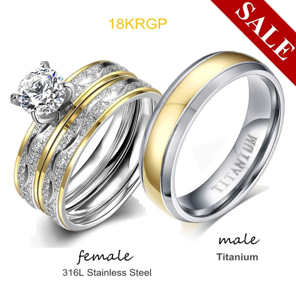 Couple Rings, Steel, 18k gold, lover gifts