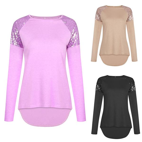 Fashion High Low Asymmetrical Hem Short Front Long Back Tshirts Tee Women Sequin Top Round Neck Long Sleeve Shirts Tops Wish
