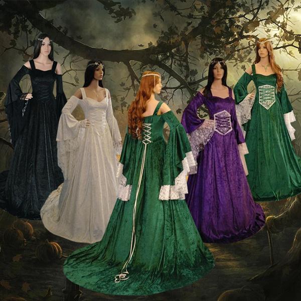 Women Vintage Celtic Dress Long Sleeve Velvet Medieval Dress Floor Length  Renaissance Dress Cosplay Costume