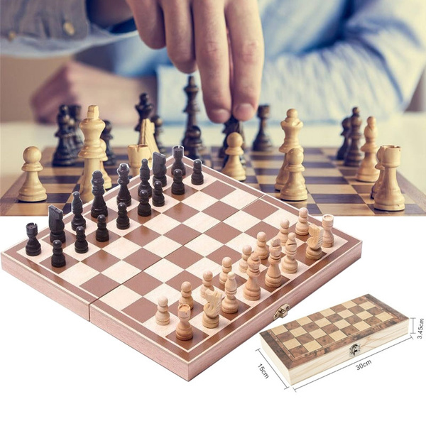Three-in-one Folding Chess Set Chess Board Schaken Step by Step Draft  Travel Wooden Game Set