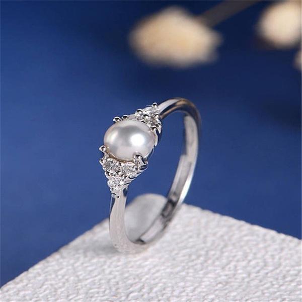Sterling, Women, Pearl Ring, wedding ring