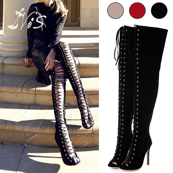 a772adfd55 Summer Women's Sexy Black High Heels Gladiator Shoes Peep Toe Roman Shoes  Lace Up Thigh Over Knee High Boots Summer Cut Outs Over The Knee Sandal |  Wish