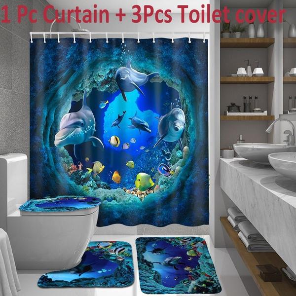 Wish Blue Ocean Dolphin Bathroom Shower Curtain Toilet Cover Mat Set Waterproof Non Slip Decor