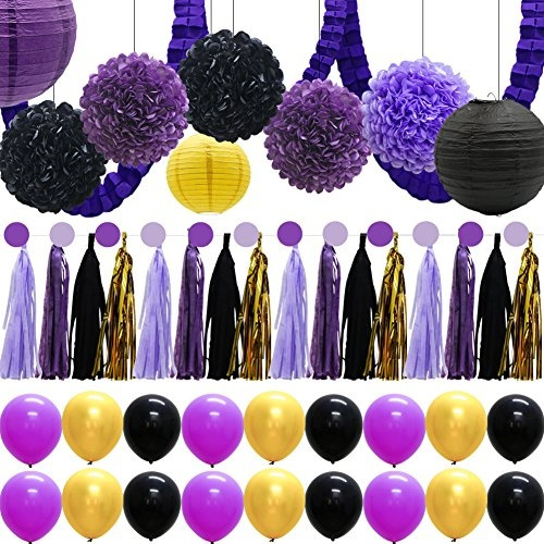 Wish | 43pcs Hanging Party Decoration Supplies Kit - Tissue Paper Flowers Pom Poms Paper Lanterns Tassel Garland Banner Leaf Clover Garland 18 Balloons for ...