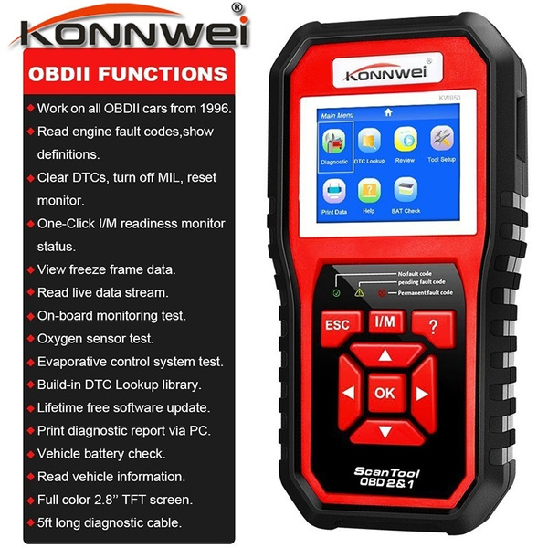 2019 Preview! KW808 / KW850 OBD II Scan Tool Check Engine Auto Car Code  Reader EOBD Diagnostic Scanner