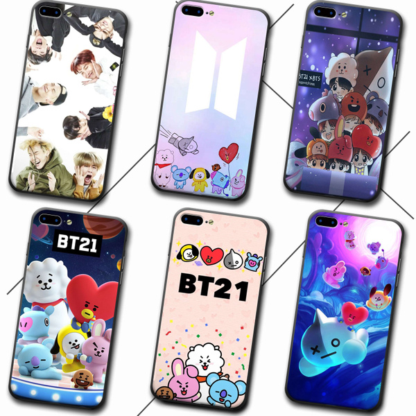 super popular fe64f 96c7f BTS BT21 Animated Phone Case Silicone Flame Hard Back Cover for IPhone Case  for IPhone 6 6s 7 8 Plus X
