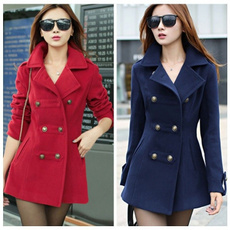 casual coat, woolen coat, fashion women, longsleevedwarmcoat