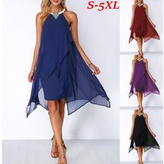 sleeveless, Moda, chiffon, knee length dress