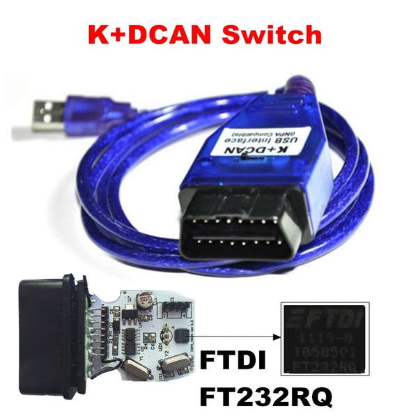 Blue BMW INPA K+DCAN K CAN With Switch Function USB Interface Diagnostic  Cable with FTDI FT232RQ Chip
