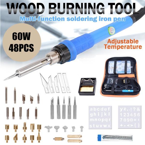 60W 48pcs Wood Burning Pen Set Stencil Soldering Tools Pyrography Crafts  Kit With Tips