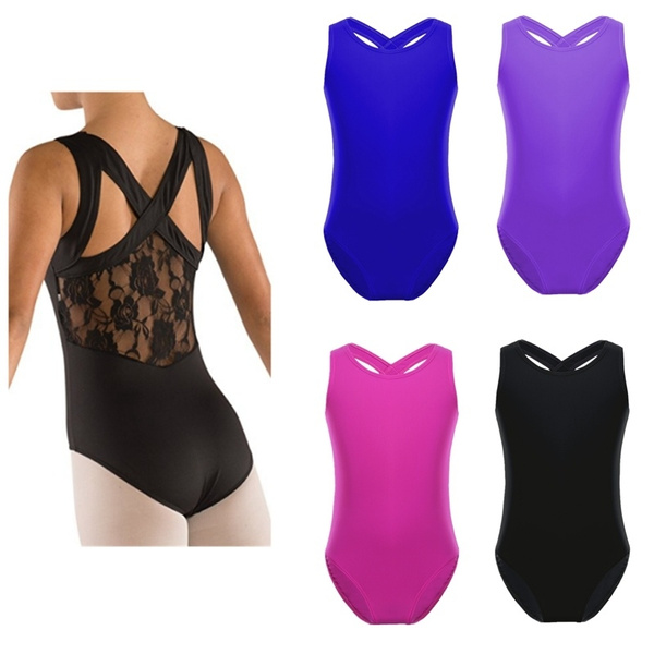 Kids Ballet Gymnastics Leotard Girls Sleeveless Lace Back Dancewear Age 8 to 15Y