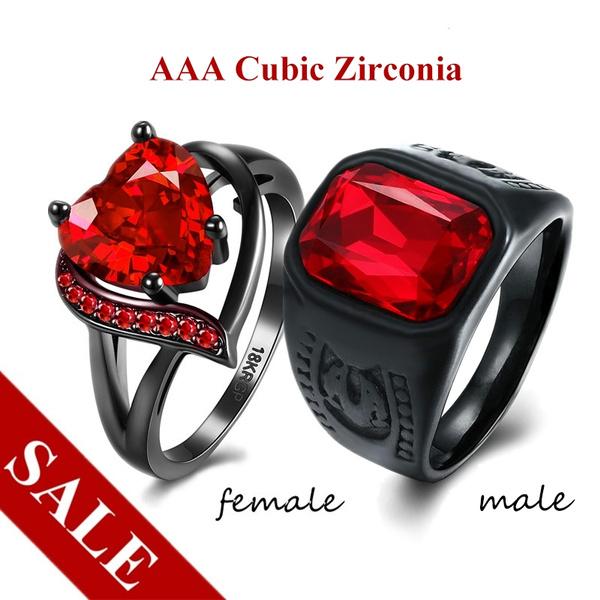 97b57cbbb5 Ruby Couple Rings Women Elegant Heart Cut Cubic Zirconia Ring Men ...