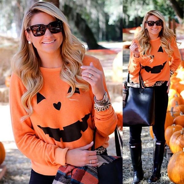 Women Halloween Pumpkin Print Long Sleeve Pullover Casual Blouse Hooded Sweatshirt