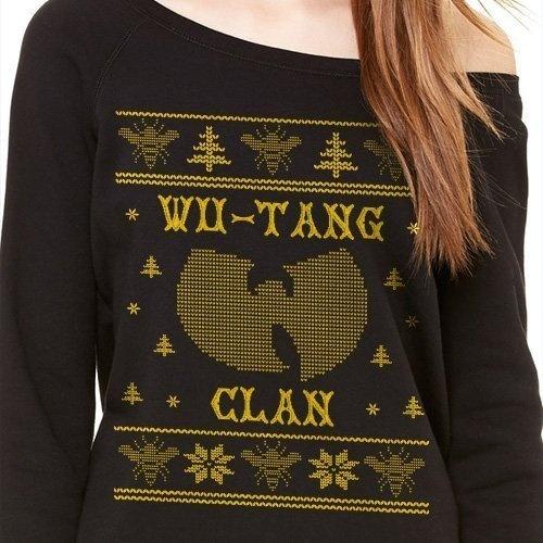 Christmas Rap Music.Off Shoulder Ugly Wu Tang Christmas Sweater Hip Hop Clan 36 Chambers Killer Bees Rap Music Fashion