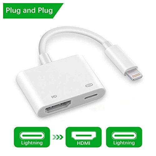 buy popular 5c779 a6851 Lightning to HDMI - Lightning Digital AV Adapter with 1080P HDMI and  Lightning Charging Port, Lighting to TV Projector Monitor Converter for ...