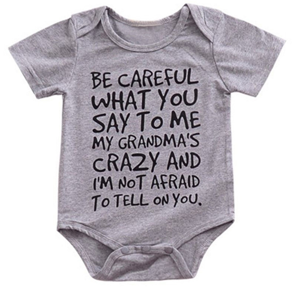 e2101b6a859f9 Funny Letters Print Kids Baby Clothes My Grandma Is Crazy Funny Newborn  Baby Romper Jumpsuit Hipster Baby Onesie
