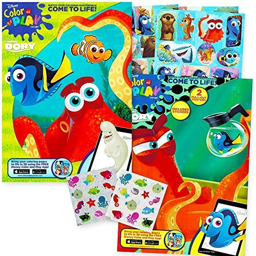 Finding Dory Nemo Coloring and Activity Book Set -- 2 Coloring Books, 2  Posters, Finding Dory Stickers and Bonus Sea Stickers (Party Supplies Pack)