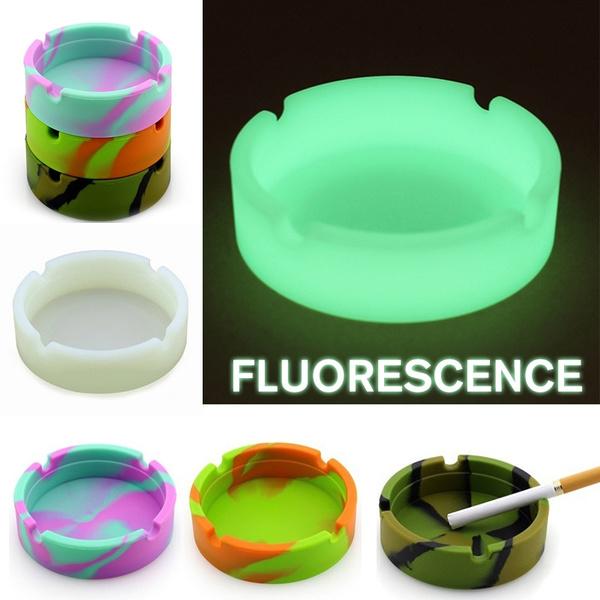 Portable Round Soft Rubber Luminous Ashtray Fluorescent Silicone