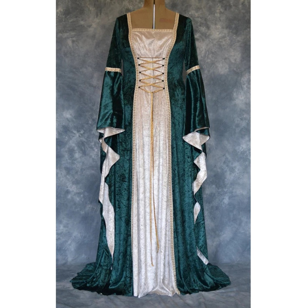 Wish Medieval Renaissance Women Long Sleeve Lace Up Long Dress