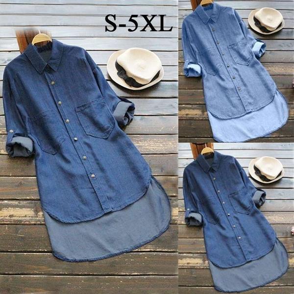 Womens Irregular Denim Long Sleeve Tops T Shirt Blouse Ladies Denim Shirt  Dress Plus Size