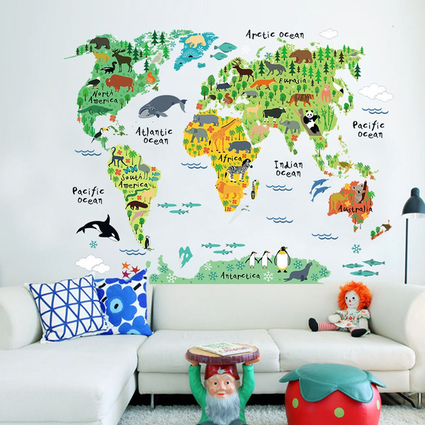 animalworldmap, animalswallsticker, worldmapwalldecor, Gifts