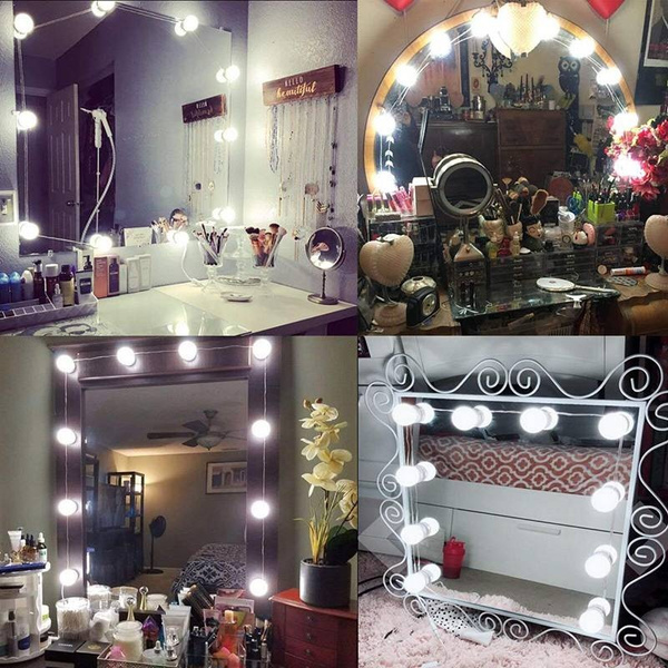 Wish 10 Led Hollywood Style Vanity Mirror Lights Kit Press Button