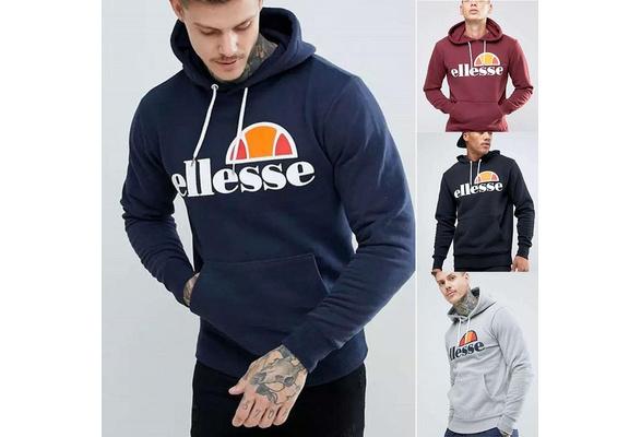 Plus Size S-4XL New Mens Fashion Classics Ellesse Hoodies Sweatshirt Autumn Sweater Round Neck Cotton Tops Casual Hoodies
