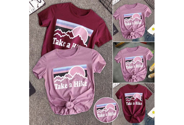 Fashion Summer Women Casual T Shirt Take A Hike Letters Printed Short Sleeve Cotton Loose Graphic Tee Tops