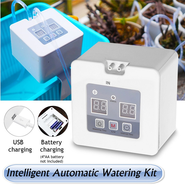 Diy Micro Automatic Drip Irrigation Kit Houseplants Self Watering System With 30 Day Programmable Water Timer Usb Battery Power Operation For Indoor