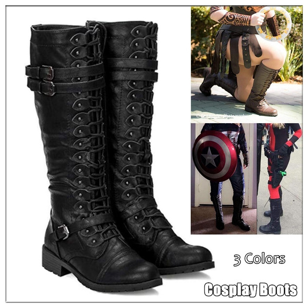 f5237f3440 2018 Women Halloween Knee High Boots Medieval Gothic Boots with Buckle  Zipper Long Boots Casual Tall Boots Plus Size Black/Brown