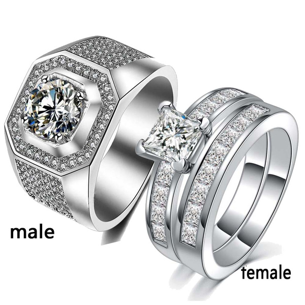 Couple Ring 2 Rings Sz6 13 His And Hers Ring Sets White Gold Filled Womens Wedding Rings For Couples Mens Ring