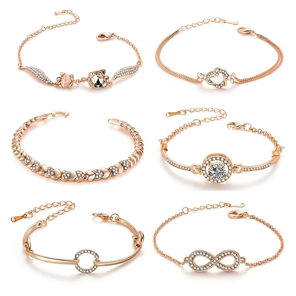 Trendy Rose Gold Chain Bracelets For Women Crystal Fashion Jewelry