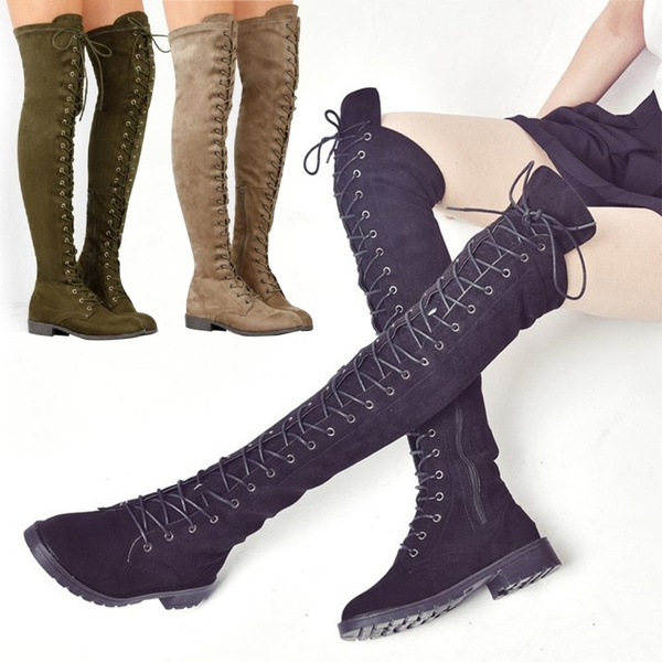 ad2d0cf0db5a Women Fashion Over The Knee High Boots Winter Autumn Lace Up Side ...